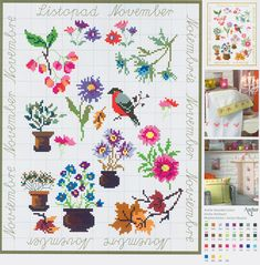 November Flowers Sampler free cross stitch pattern from www.coatscraft.pl