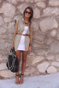 Great neutral color mix.  Love, love, love the long open shirt with a belt -- fab!