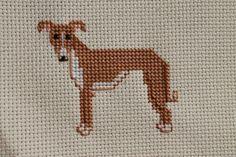 Whippet Cross Stitch Dog Portrait by DogStitchBklyn on Etsy, $40.00