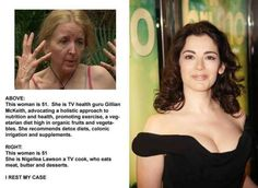 This little meme is dangerously overgeneralizing; there is no telling what environmental and previous lifestyle factors went into how the holistic advocate aged (she could have been an alcoholic or smoker before changing her lifestyle). Not to mention genetics. Nigella probably doesn't make a regular habit of half the stuff she makes for TV anyways. It's all about moderation.
