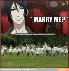 Sebastian Michaelis - Black Butler - yes i would love to marry you and my other anime boyfriends! Black Butler Ciel, Black Butler Comics, Black Butler Funny, Black Butler Sebastian, Black Butler Kuroshitsuji, Butler Anime, Funny Anime Pics, Anime Life, Funny Love