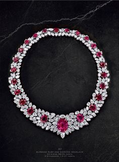 Burmese Ruby and Diamond Necklace This showstopping high jewelry necklace features 24 rubies at ctw and 219 diamonds at ctw Ruby And Diamond Necklace, Ruby Necklace, Ruby Jewelry, High Jewelry, Luxury Jewelry, Bling Jewelry, Diamond Jewelry, Wedding Jewelry, Jewelery