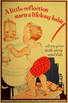 Child Teeth Cleaning, 1930s - original vintage poster by Lorna Adamson issued by the Dental Board listed on AntikBar.co.uk