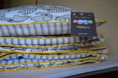 100%COTTON Cot Bed Duvet Cover Set Girls Boys Grey Scandi Kids mint yello piping