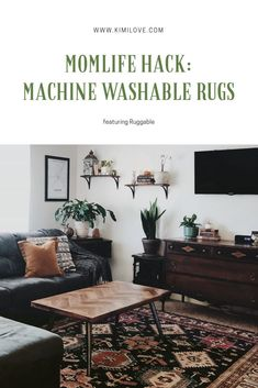 Mom Life Hack: Machine Washable Rugs featuring Ruggable • KIMILOVE Home Living Room, Apartment Living, Chicago Apartment, Apartment Ideas, Global Decor, Machine Washable Rugs, Rug Inspiration, Traditional Rugs, Sweet Home