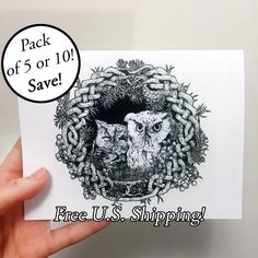 New to Atramentaria on Etsy: Three (3) Five (5) Ten (10) Screech Owl Art Greeting Card - Celtic Knot Wreath Cute Owl Blank Greeting Card - Black and White Ink Drawing (8.60 USD)