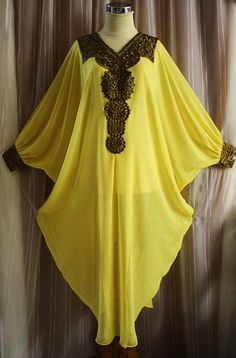 FANCY YELLOW Moroccan kaftan Dubai style embroidery abaya hijab maxi dress jalabiya. $39.99, via Etsy.
