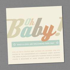DIY Printable Oh Baby Gender Neutral Invitation by TheNiaDesigns, $ 20.00
