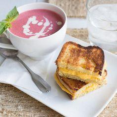 April Fool's Day Grilled Cheese and Tomato Soup AKA Chilled Strawberry Soup and Orange Pound Cake! Strawberry Soup, April Fools Day, Tomato Soup, Holiday Recipes, Holiday Ideas, Easy Snacks, Pound Cake, The Fool, Good Food