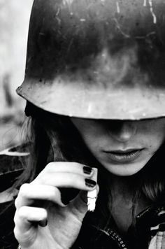 cigarette | female | soldier | hard hat | helmet | nail polish | ponder | deep in thought | www.republicofyou.com.au