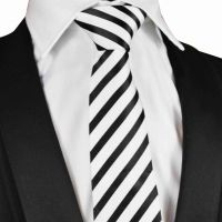 Black and white striped Silk Tie with black silk pouch (S008)