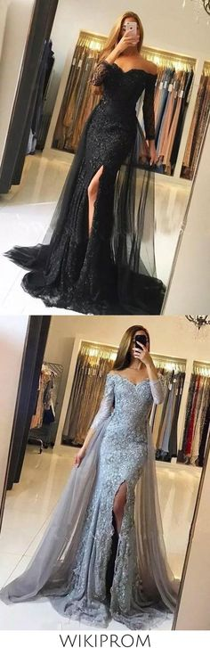 2019 Trumpet/Mermaid Long Sleeves Off-The-Shoulder Sweep/Brush Train Tulle Lace Evening Dresses, This dress could be custom made, there are no extra cost to do custom size and color