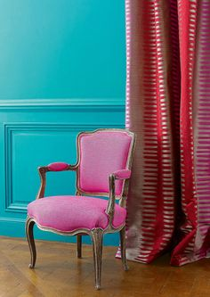 By the Yard-Manuel Canovas Montana Rose Indien/Pillows/Drapery/Upholstery Fabric Foyer Wallpaper, Interior Decorating, Interior Design, Inspiration Wall, Interior Inspiration, Turquoise, Elle Decor, Drapery, Window Curtains