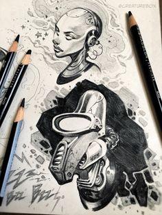 Awesome sketch book designs best of creaturebox Character Art, Character Design, Comic Book Style, Cool Sketches, Robot Art, Cartoon Drawings, Cartoon Tattoos, Doodle Art, Book Design