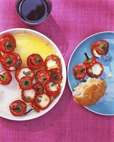 Stuffed Marinated Hot Red Cherry Peppers - Martha Stewart Recipes  (We accidentally bought and planted a red hot cherry pepper plant instead of a red bell pepper in our garden this year. They will be an experiment!)