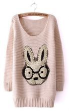 Beige Long Sleeve Rabbit Embellished Pullovers Sweater $33.39