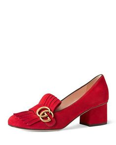 X34JJ Gucci Marmont Fringe Suede 55mm Loafer, Red