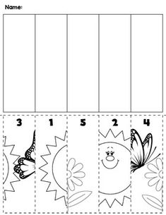 1 Spring flowers bugs preschool cut and order for numbers Package includes five no prep worksheets Free Preschool, Preschool Learning, Kindergarten Worksheets, Spring Activities, Preschool Activities, Ordering Numbers, Homeschool Kindergarten, Math Numbers, Cut And Paste