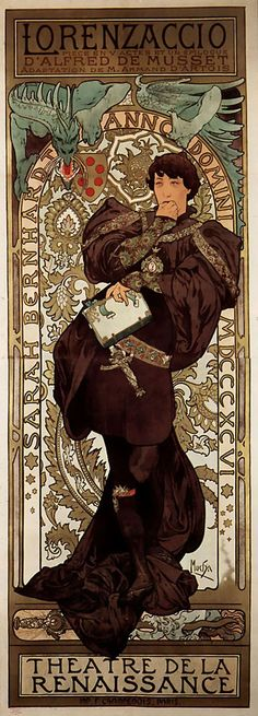 Lorenzaccio (1896). Sarah Bernhardt, anno domini MDCCCXCVI. Alphonse Maria Mucha (1860-1939). Lithograph.  Art nouveau poster advertising a performance of the play Lorenzaccio by Alfred de Musset starring Sarah Bernhardt, at the Theatre de la Renaissance. Library of Congress Prints and Photographs Division, Washington, D.C.