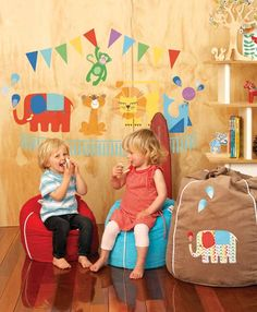 Cocoon Couture ottomans make a great seat for little ones.
