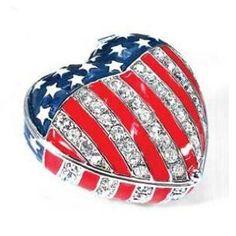 Usa American Flag Heart Box With Swarovski Crystals