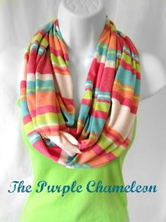 Sherbert Stripe Infinity Scarf Jersey Knit Extra Long in Orange Lime Aqua Cream Rasberry Pink