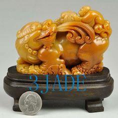 Natural ShouShan Stone Carving Pixiu Chinese Divine Animal Statue -J010256