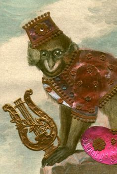 detail of Moustac Antique Prints, Monkey, Teddy Bear, Costumes, Detail, Antiques, Gallery, Animals, Art