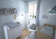 Wall a rencontré Huisjes van Ferm Living-room. Baby Bedroom, Baby Boy Rooms, Baby Boy Nurseries, Nursery Room, Small Baby Nursery, Baby Corner, Parents Room, Man Room, Nursery Neutral