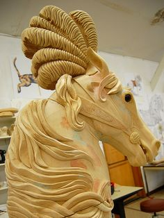 Unfinished Hand Carved Carousel Horse ~ The Albany Brass Ring Historical Carousel and Museum, Albany, by gogouci, Wooden Horse, Wooden Art, Carosel Horse, Painted Pony, Merry Go Round, Art Carved, Pretty Horses, Horse Art, Wood Carving