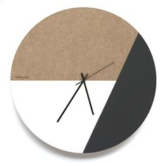 Unfinished MDF board with hand painted portions white and black paint. diameter Silent sweep clock mechanism Black hour, minute and second hand AA Battery not included Biodegradable Packaging: 490 x 490 x box Free delivery (SA Only)