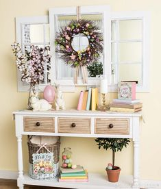 A beautiful Easter entryway is easily achieved with pops of pastels and everyday decor!