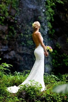 Low back wedding dress...beautiful