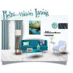 """Retro-vision Living Room"" by mark-malinowski on Polyvore Modern Design, Living Room, Retro, Polyvore, Home, Contemporary Design, Ad Home, Home Living Room, Drawing Room"