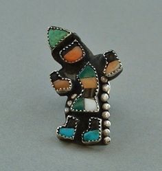 Sale VINTAGE Native American ZUNI Rainbow Man Tie Tack Pin Turquoise Spiny Oyster Jet MOP Gemstones #FathersDayGifts #VintageMensSterlingJewelry
