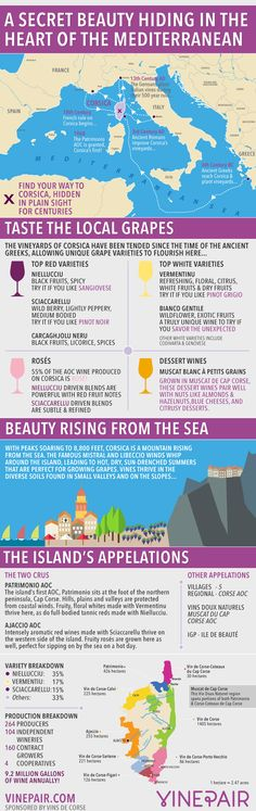An Introduction, Map And Guide To The Wines Of Corsica #infografía