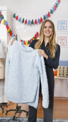 """Learn to knit this chunky, modern sweater featured in Good Housekeeping! Wool and The Gang is the hottest name in DIY knitwear and they designed the """"Wonderwool Sweater"""" exclusively for GH. Stitch your way through the FREE pattern with co-founder, Jade Harwood..."""