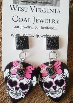 Handmade Jewelry - #WV #Coal #Skulls - Skull Guitar Picks with Coal & Swarovski Crystal Earrings from WV Coal Jewelry!