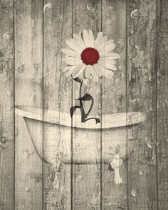 Rustic Dark Red Brown Daisy Flower Bathroom Home Decor Matted Wall Art Picture  Status: Availab...