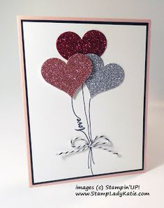 Hello Life, Red, Silver & Blushing Bride Glimmer Paper, Full Heart punch, Black Baker's Twine