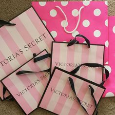VS and VS Pink! Lot of 6 bags all sizes! Lot of 6 Victoria's Secret and VS Pink! Bags in new condition. 3 smalls, 2 medium and 1 large. I have too many piling up! PINK Victoria's Secret Bags