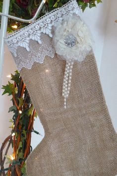 Burlap Stocking with lace, Pendant and Pearls