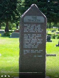 """The Tragedy"" Headstone. Very sad."