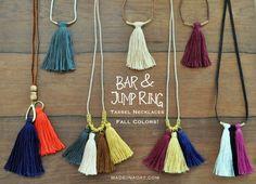 Bar Tassel Jump Ring Tassel Necklaces madeinaday.com