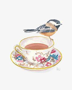 Original Bird and Teacup Watercolour Painting - Chickadee Bird illustration, Kitchen Art, from WaterInMyPaint on Etsy. Tee Illustration, Illustrations, Watercolor Bird, Watercolour Painting, Painting & Drawing, Watercolours, Tea Cup Art, Tea Cups, Original Paintings