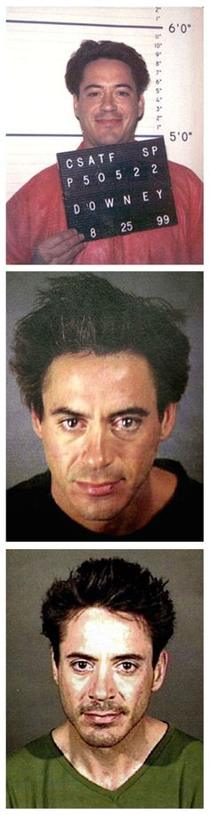 Robert Downey Jr. was photographed by the California Department of Corrections in August 1999 while serving time on a drug conviction. The second mug shot was taken in November 2000 after his arrest at the Merv Griffin Resort in Palm Springs for drug possession. The third photo was taken in April 2001 after the actor was busted in a Culver City alley for investigation of being under the influence of a controlled substance.