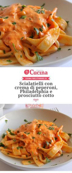 Scialatielli with cream of peppers, Philadelphia and ham - Scialatielli con… Wine Recipes, Pasta Recipes, Cooking Recipes, I Love Food, Good Food, Salty Foods, Italy Food, Prosciutto Cotto, Pasta Dishes