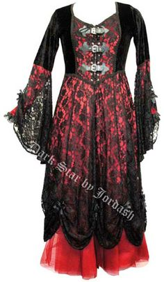 Dark Star Black & Red Velvet & Lace Gothic Medieval Dress [DS/DR/51091R] - $125.99 : Mystic Crypt, the most unique, hard to find items at ghoulishly great prices!