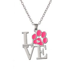 Love Pink Paw Print Charm Pendant Necklace  Price: 6.08 & FREE Shipping  #pets #dog #doglovergifts