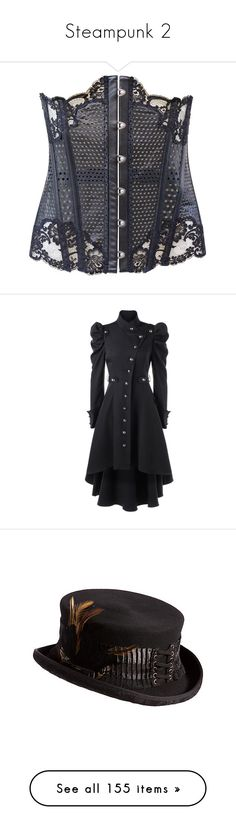 """""""Steampunk 2"""" by faeryrain ❤ liked on Polyvore featuring black, la perla, outerwear, coats, jackets, trench coats, button down coat, button up coat, puff sleeve coat and accessories"""
